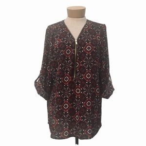 Rue21 Rolled Sleeve Geometric Floral Zip Up Blouse
